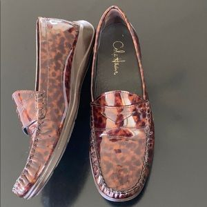 Cole Haan Nike Air patent leopard print loafer EUC